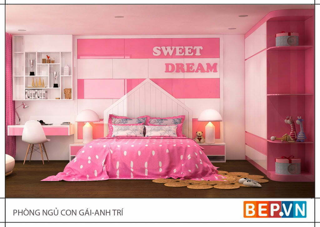 Phòng ngủ công chúa với màu hồng lãng mạn dành cho bé