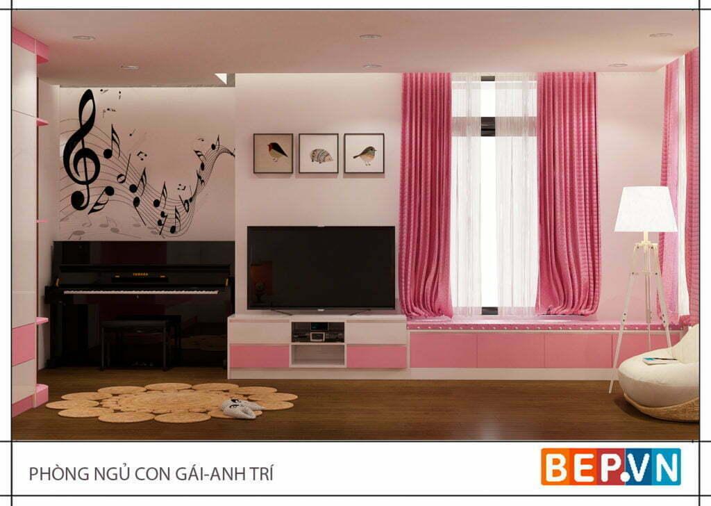 Lựa chọn màu hồng làm chủ đạo cho phòng ngủ con gái anh Trí