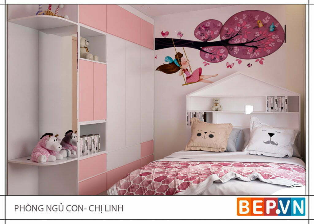 Phòng ngủ công chúa của con gái chị Linh