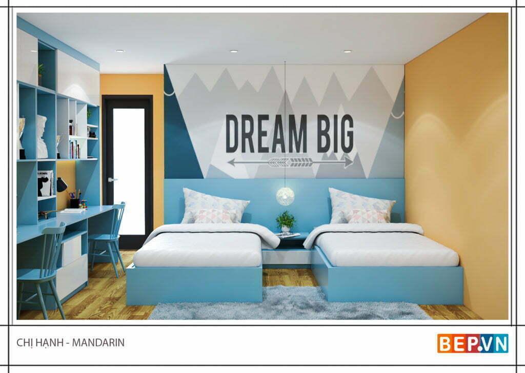 Thiết kế phòng ngủ với hai giường đôi