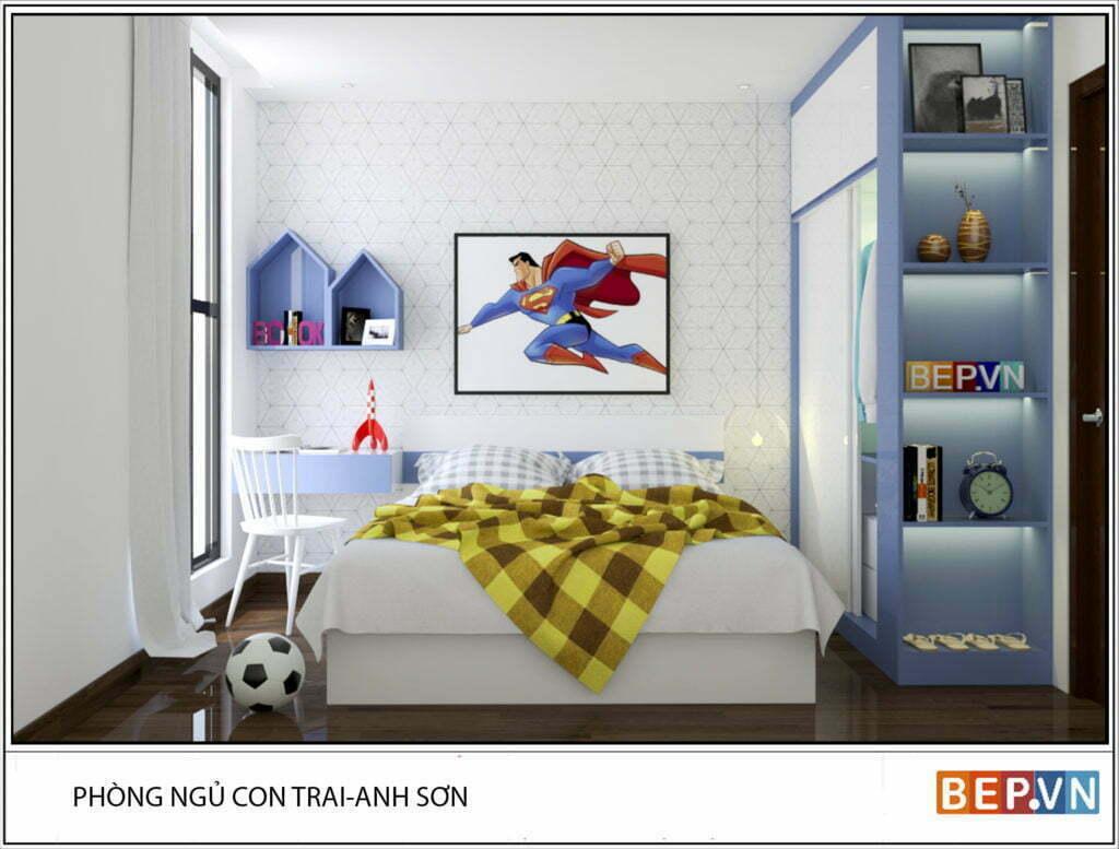 Phòng ngủ dành cho bé trai với màu sắc tươi mới