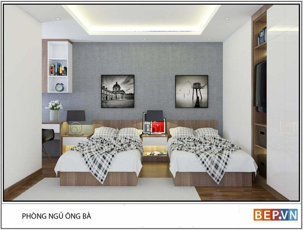 Phòng ngủ ông bà được thiết kế giản dị, mộc mạc