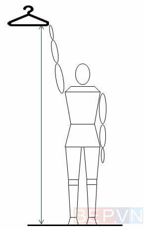 Chiều cao tiêu chuẩn để làm mắc treo quần áo phù hợp