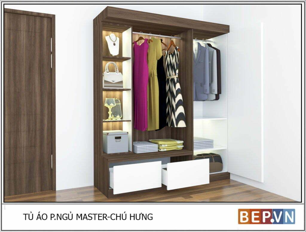 Thiết kế tủ quần áo đẹp phù hợp với mọi không gian căn phòng