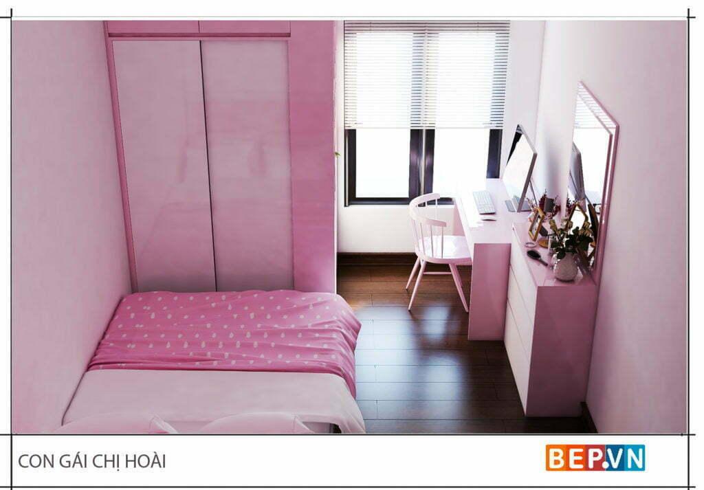 Thiết kế phòng ngủ con gái dễ thương