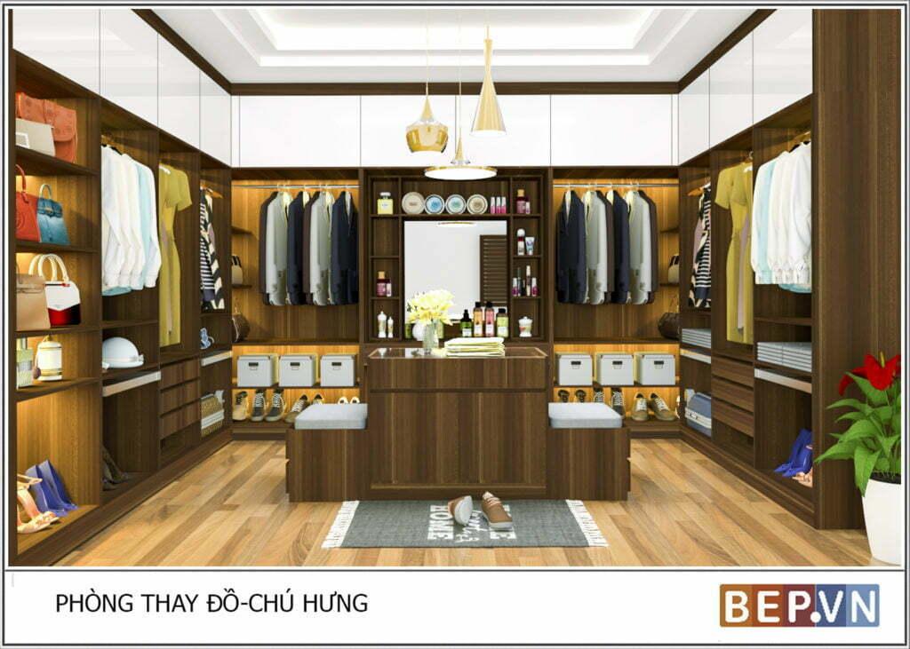Thiết kế tủ quần áo không cánh cho phòng thay đồ rộng