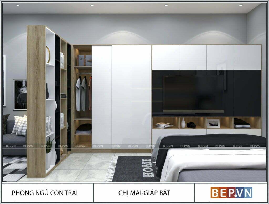 Thiết kế tủ quần áo nối liên tủ kệ trang trí và kệ tivi lớn