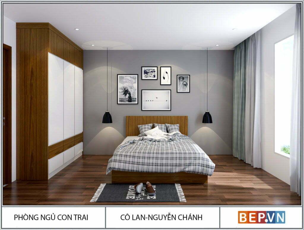 Sự kết hợp hài hòa giữa hai chất liệu Acrylic và Laminate cho phòng ngủ đơn giản nhưng vô cùng hiện đại