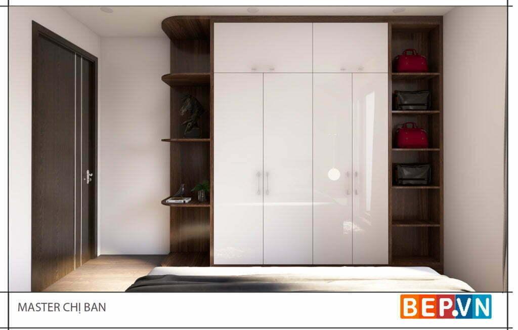 Thiết kế tủ quần áo thêm các khoảng trang trí và lưu trữ túi xách và những vật dụng khác