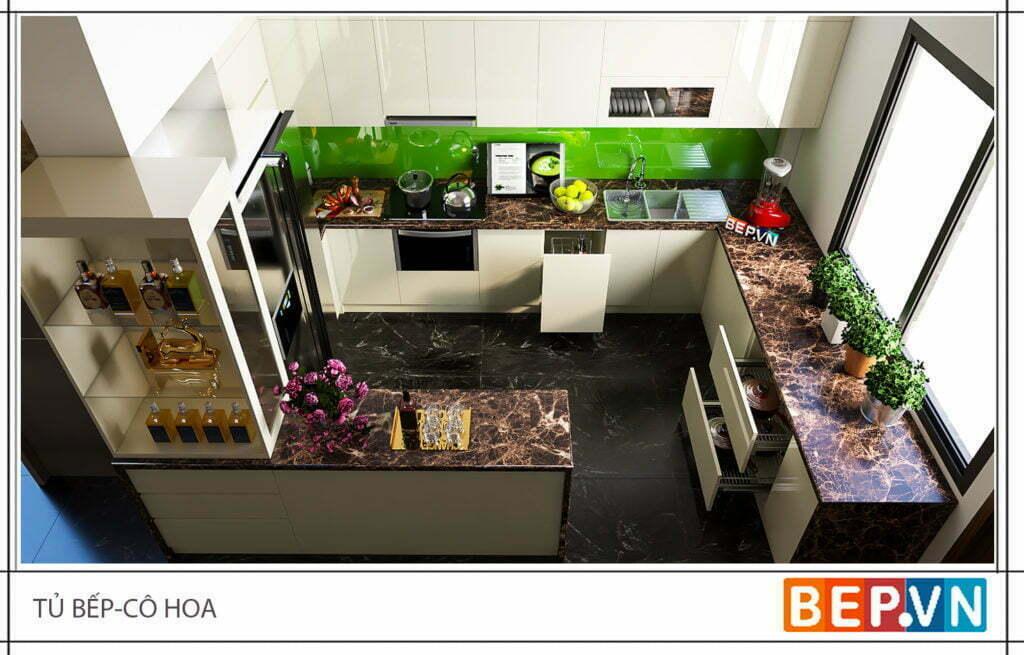 Điểm nhấn cho không gian phòng bếp từ bàn đá