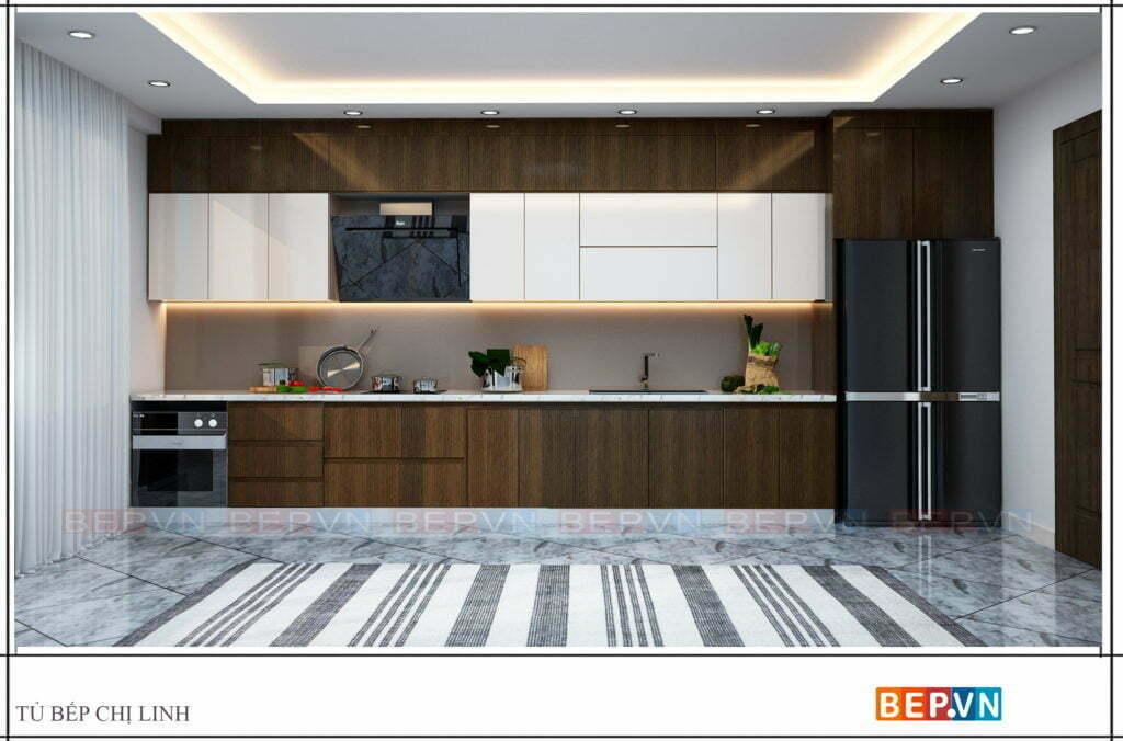 Thiết kế tủ bếp chữ i với hai chất liệu được lựa chọn nhiều nhất hiện nay