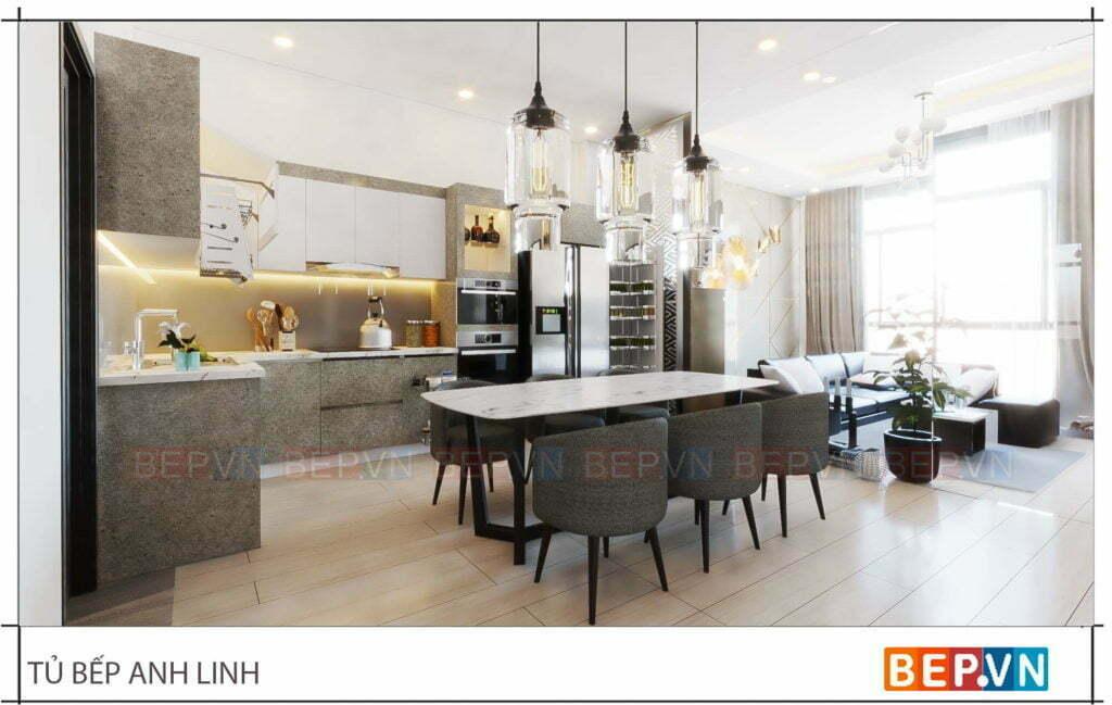 Lựa chọn màu sắc tủ bếp laminate độc đáo cho tủ bếp nhà anh Linh