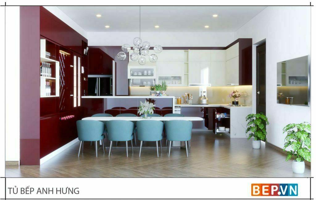 thiết kế tủ bếp hiện đại cho không gian lớn, rộng rãi
