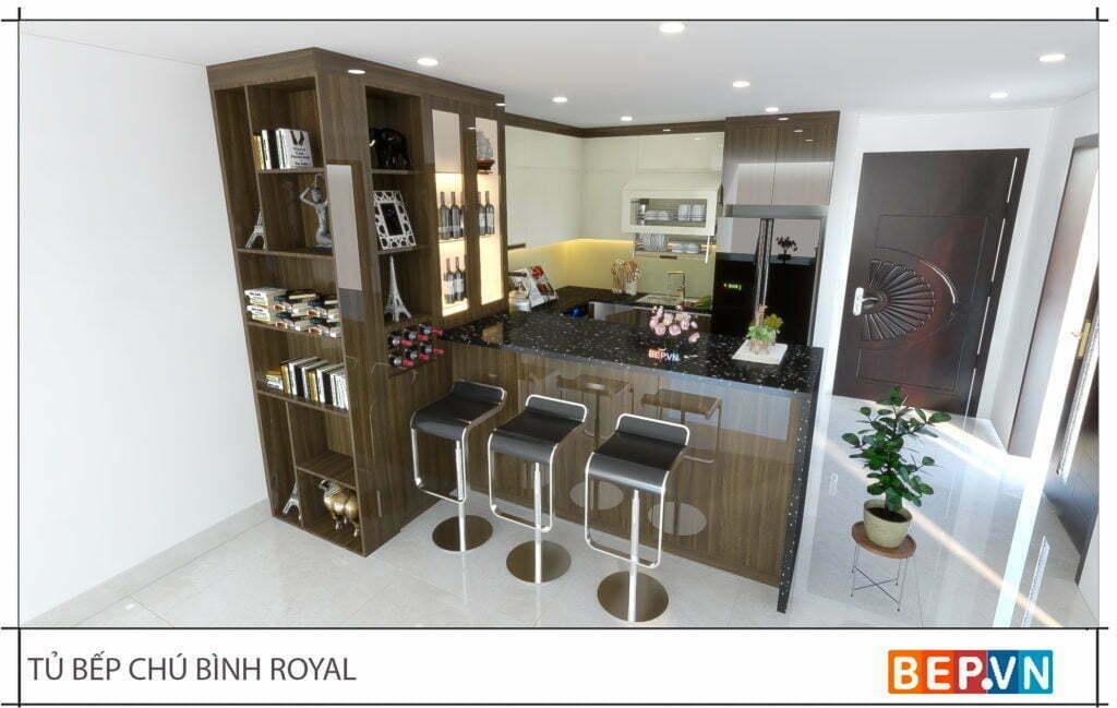 thiết kế tủ rượu trang trí cho phòng bếp gia đình