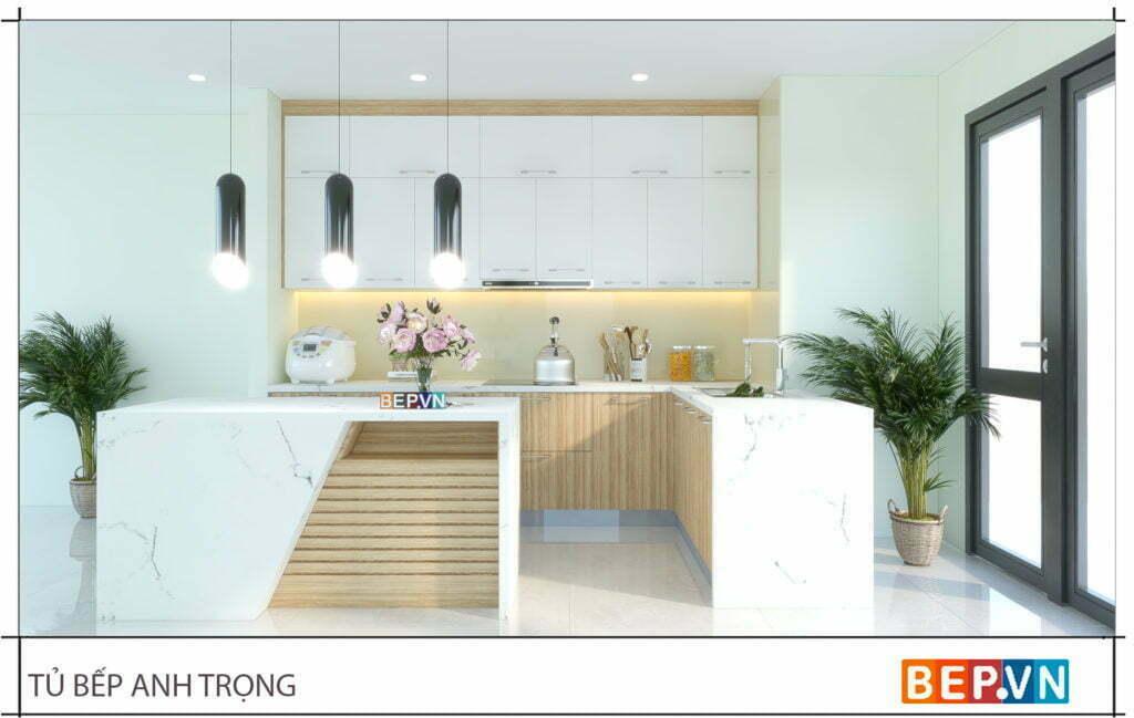 thiết kế tủ bếp gỗ công nghiệp với sự kết hợp của hai chất liệu Acrylic và Laminate