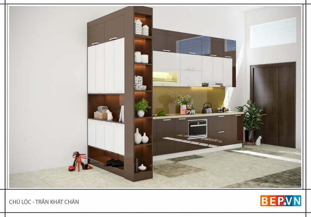 tủ bếp gỗ công nghiệp sử dụng cốt gỗ MDF lõi xanh