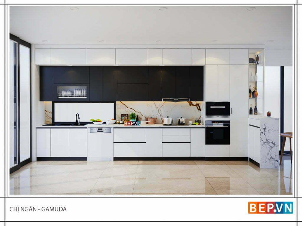 thiết kế tủ bếp acrylic với hai gam màu đen trắng