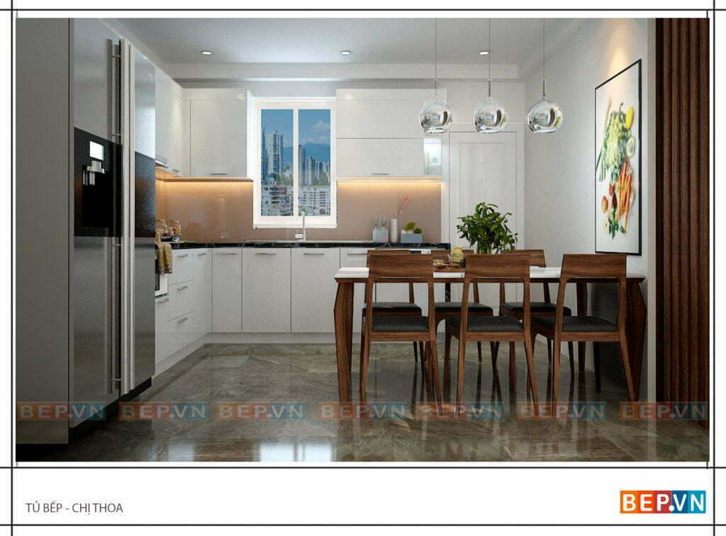 Lựa chọn chất liệu Acrylic bóng gương cho phòng bếp chị Thoa