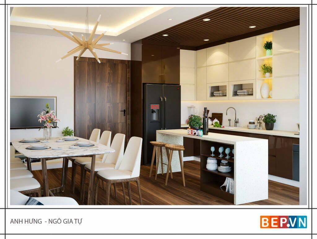 Sự kết hợp giữa các không gian phòng bếp bằng bàn ăn
