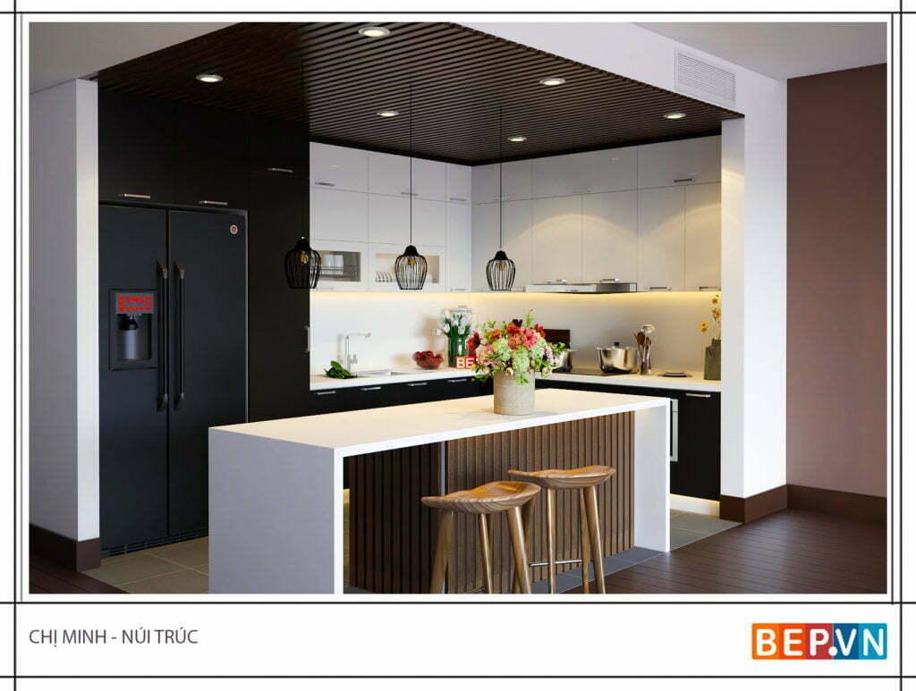 thiết kế tủ bếp chữ l có đảo bếp