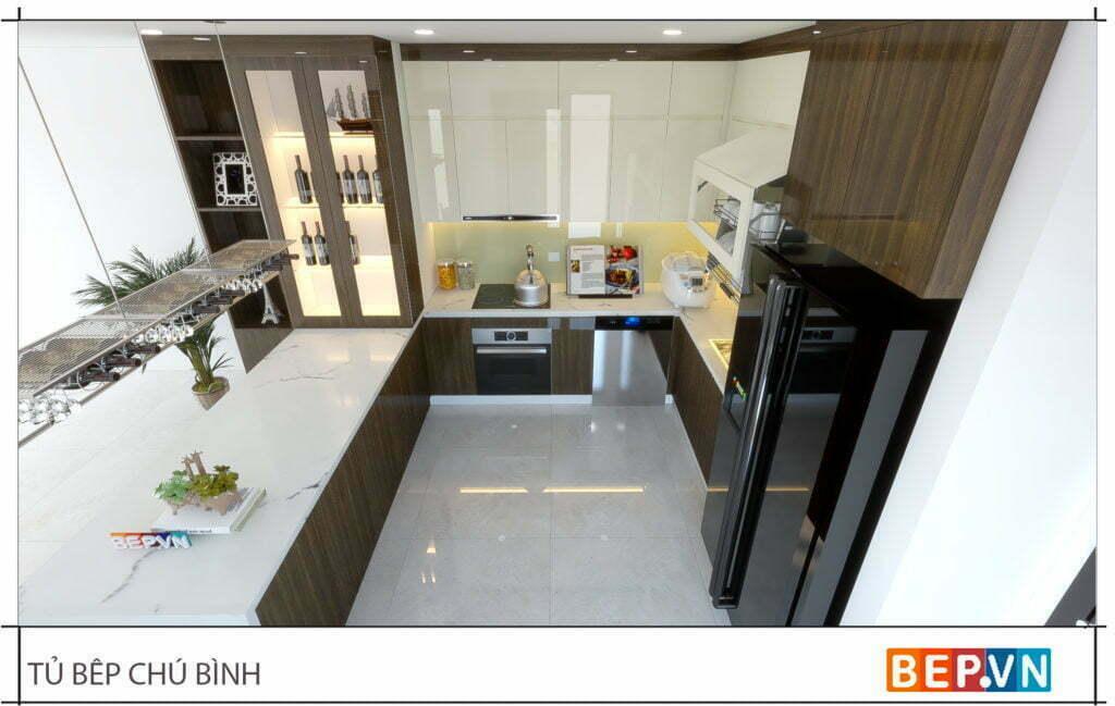 thiết kế tủ bếp có thêm quầy bar sang trọng và hiện đại