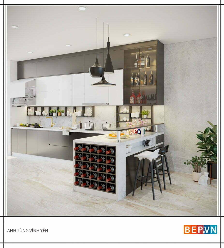 Tủ bếp có thêm đảo bếp hiện đại, sang trọng khi thiết kế cả quầy rượu trang trí