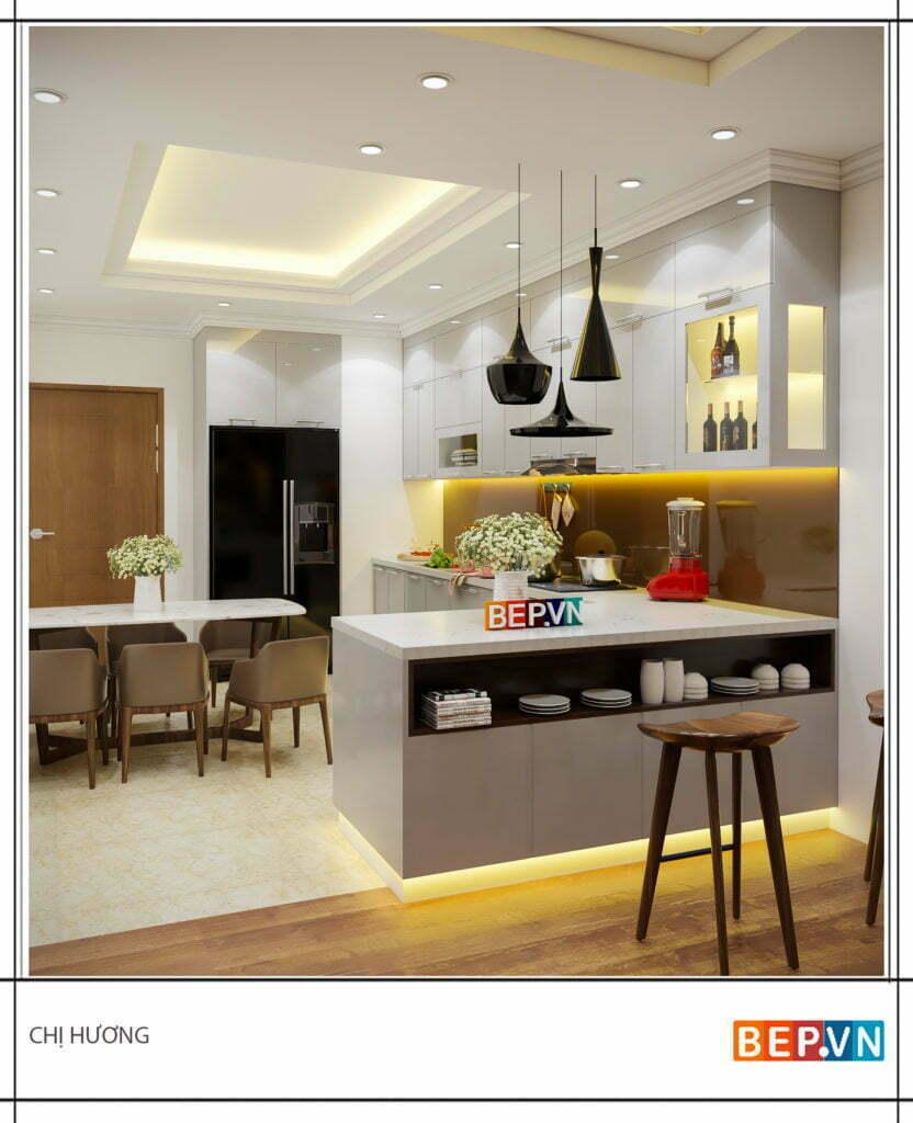 Đảo bếp có thêm không gian trang trí cho phòng bếp