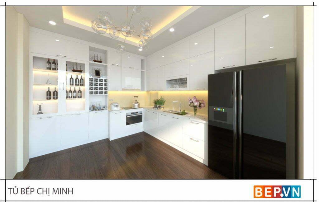 thiết kế tủ bếp chữ L đẹp, sang trọng và hiện đại