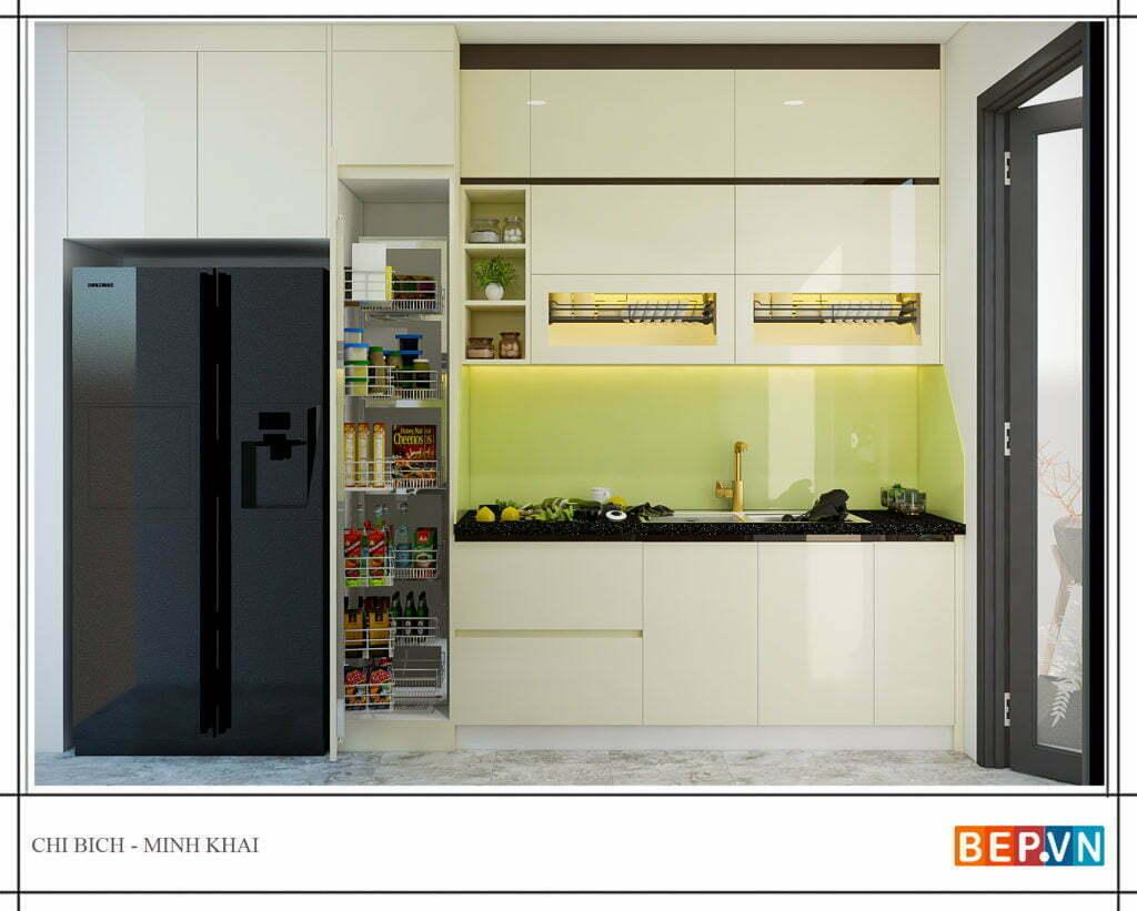 Lựa chọn các gam màu sáng cho tủ bếp song song