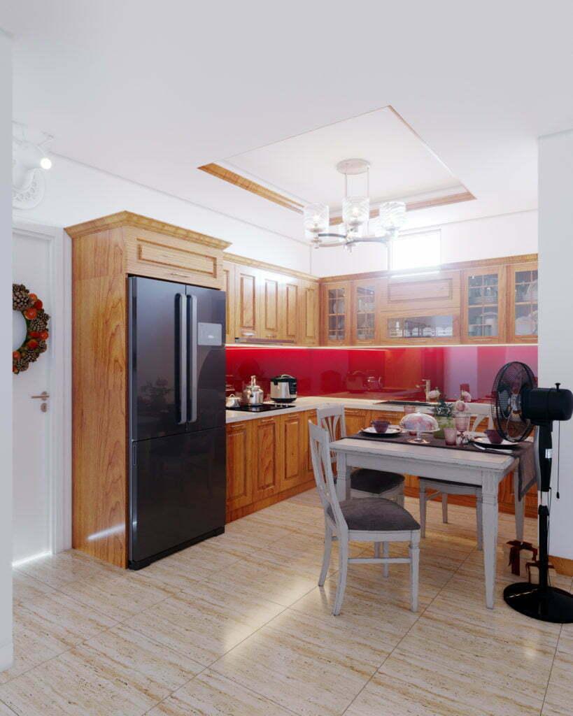 Lựa chọn gỗ xoan đào cho thiết kế tủ bếp chữ l