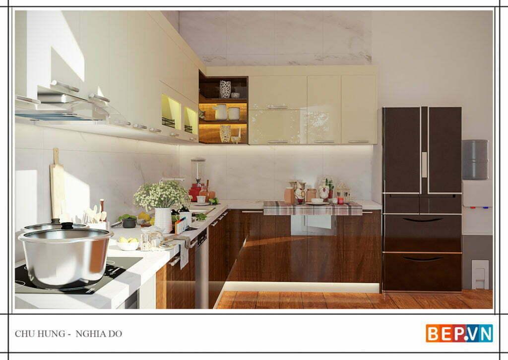 Lựa chọn màu sắc và chất liệu cho thiết kế tủ bếp chữ L