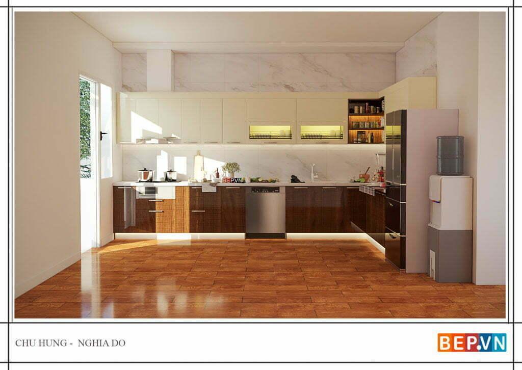 Tủ bếp nên được đón ánh nắng tự nhiên