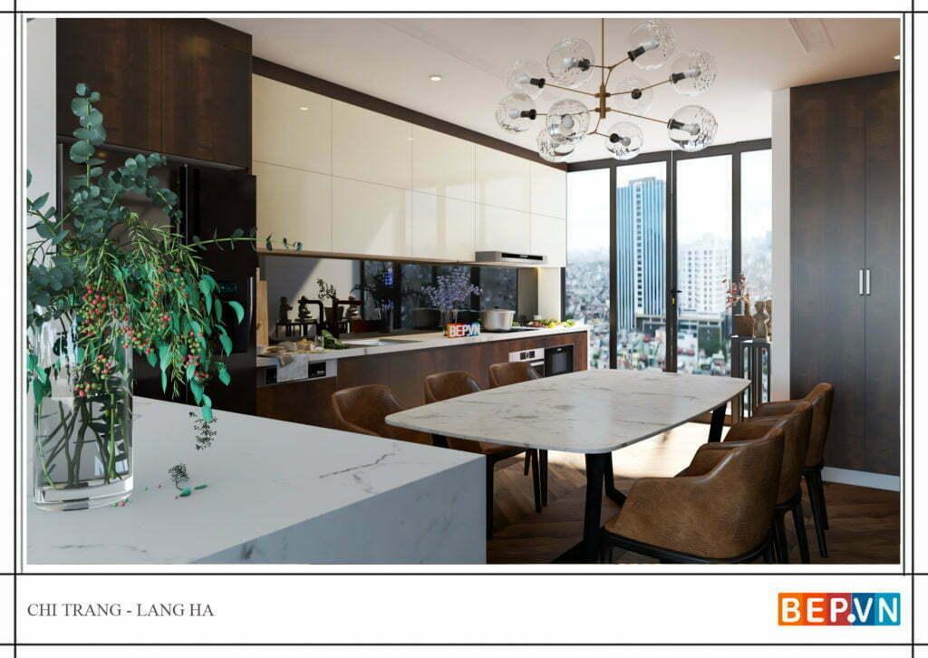 thiết kế tủ bếp chữ i với cửa sổ lớn đón ánh sáng tự nhiên