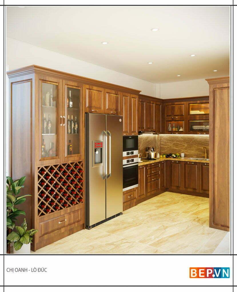 tủ bếp chữ l lựa chọn chất liệu gỗ sồi Mỹ