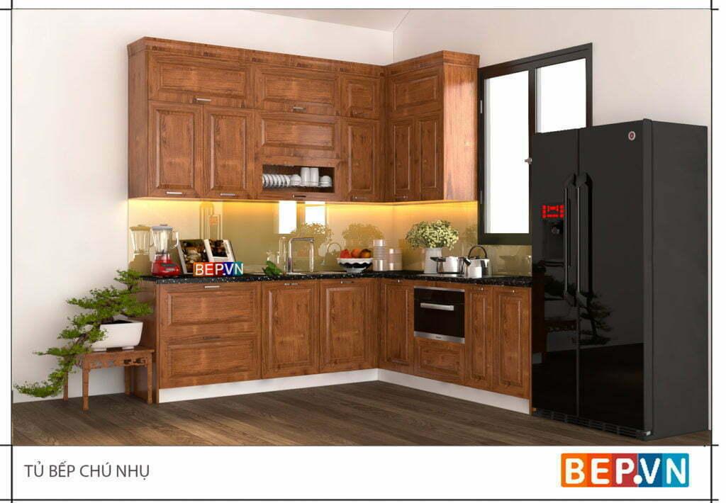 Tủ bếp chữ l sử dụng chất liệu gỗ sồi Nga