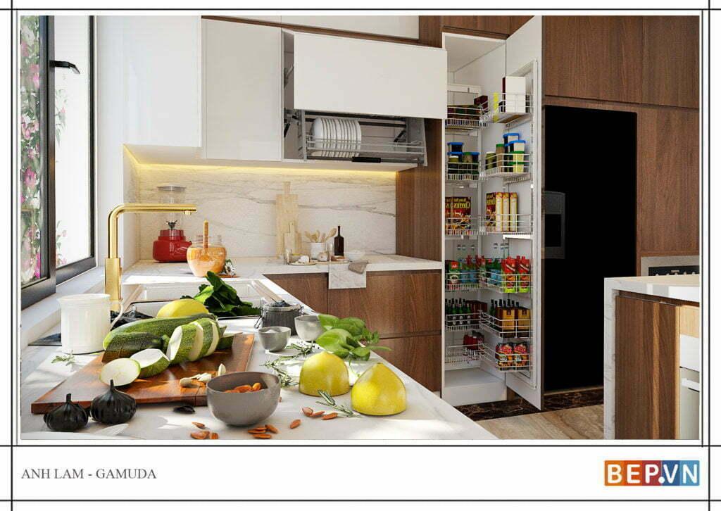 thiết kế tủ bếp chữ l đẹp, hiện đại