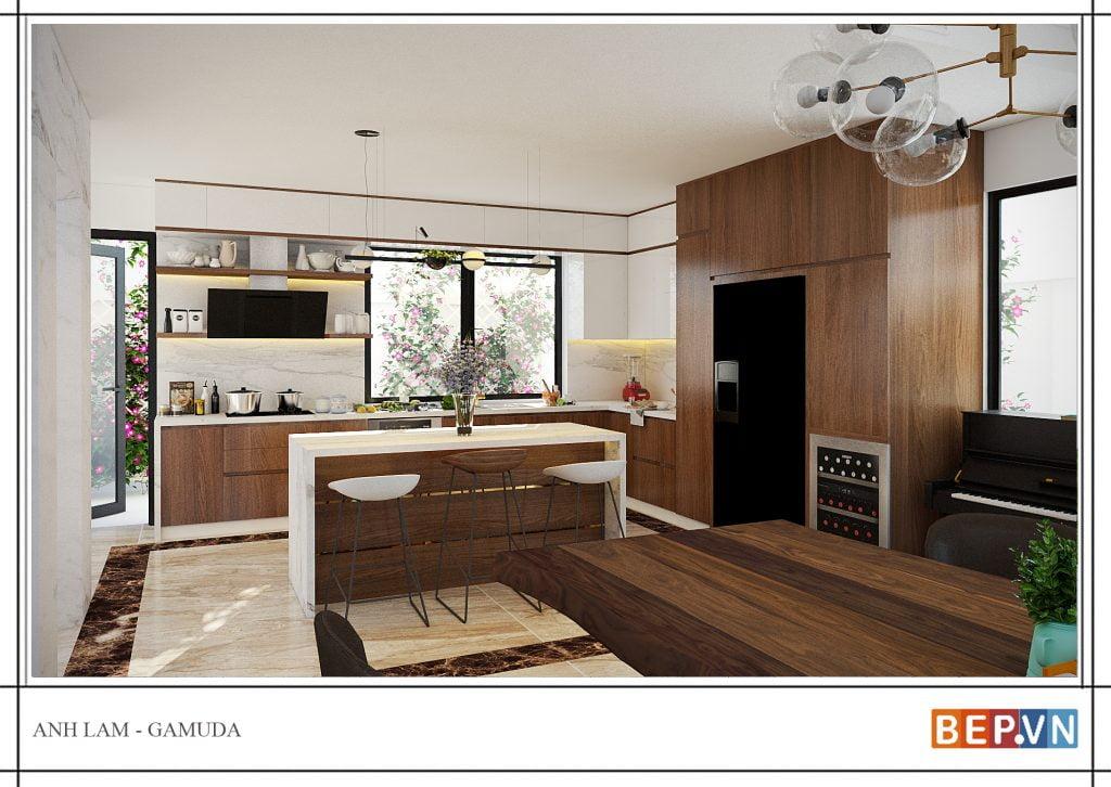 thiết kế tủ bếp chữ l đẹp hiện đại