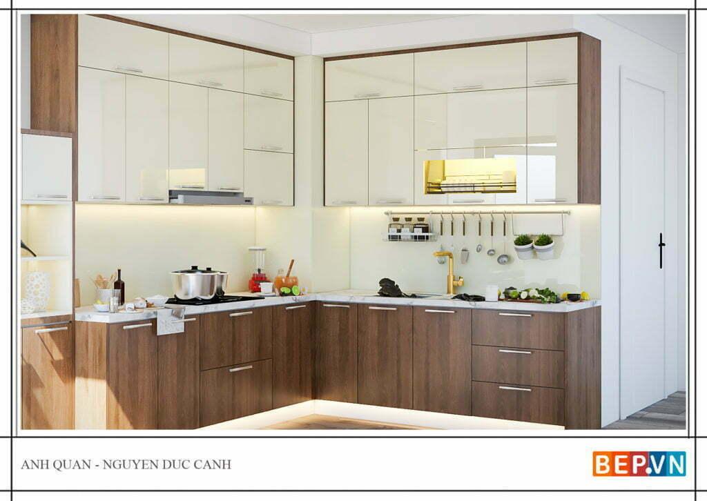 lựa chọn chất liệu, màu sắc tủ bếp