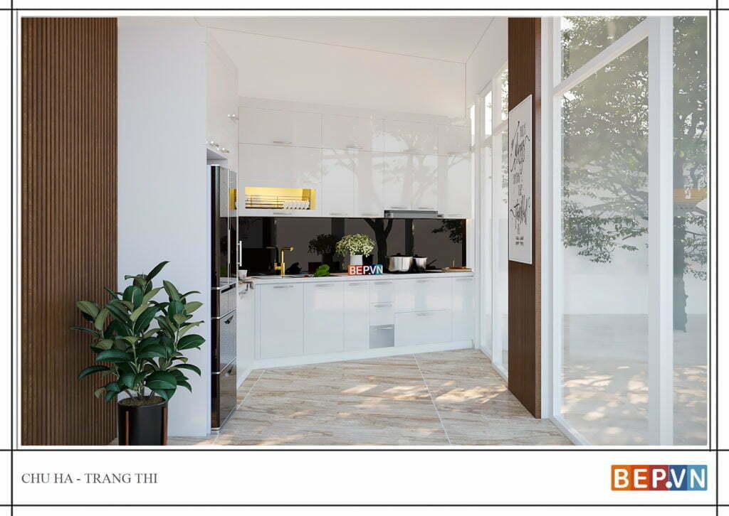 thiết kế tủ bếp hiện đại gia đình chú Hà 1