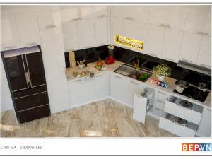 thiết kế tủ bếp chữ L hiện đại gia đình chú Hà