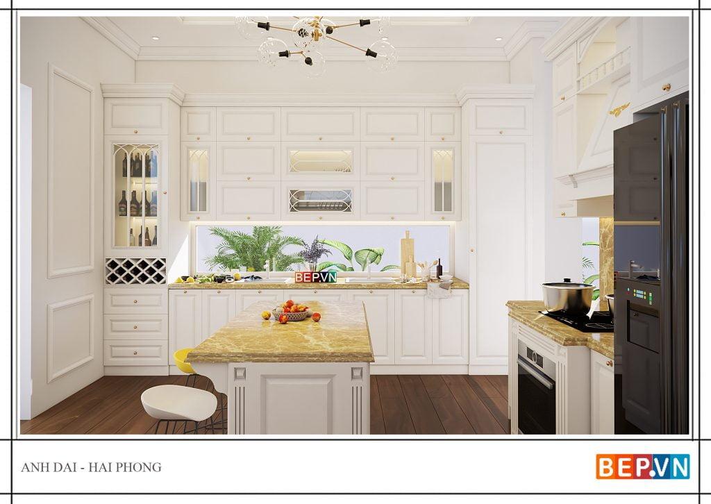 Mẫu thiết kế tủ bếp tân cổ điển đẹp