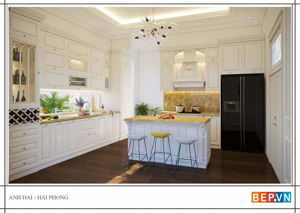Lựa chọn chất liệu cho tủ bếp tân cổ điển sang trọng