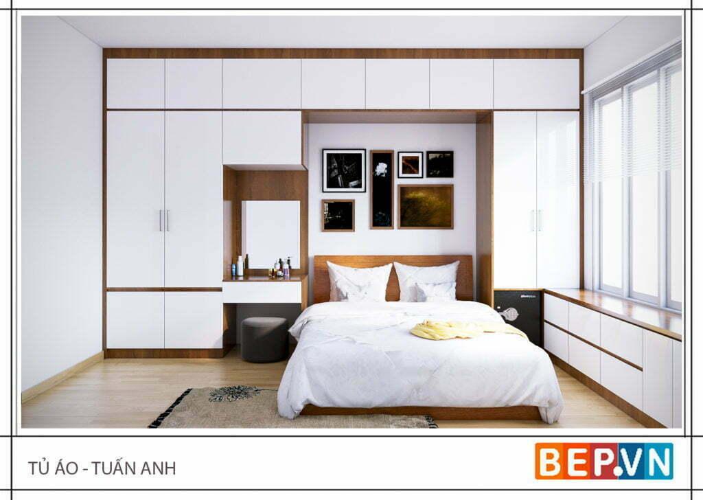 Phòng ngủ được thiết kế với hai chất liệu chính Acrylic bóng gương và Laminate vân gỗ