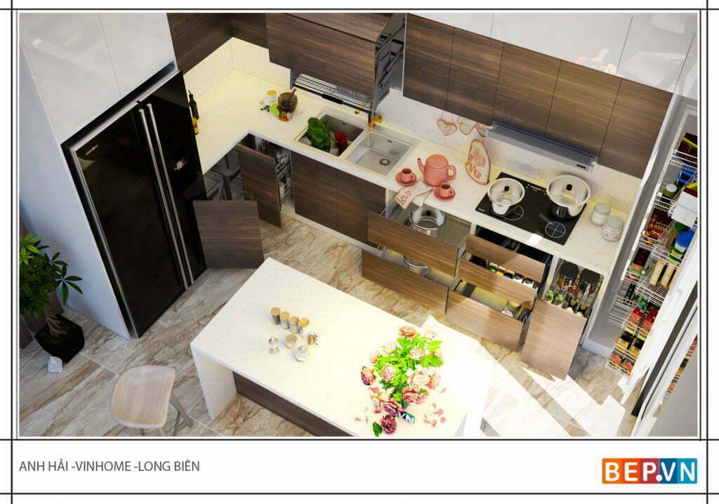 Tủ bếp chữ L gia đình anh Hỉa nhìn đơn giản nhưng vô cùng hiện đại và tiện nghi