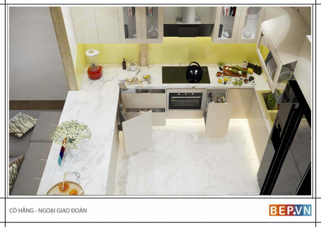 thiết kế tủ bếp chữ U hiện đại gia đình cô Hằng