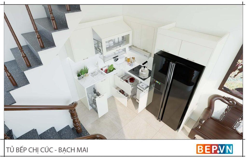 thiết kế tủ bếp nhỏ chữ L gia đình cô Cúc 4