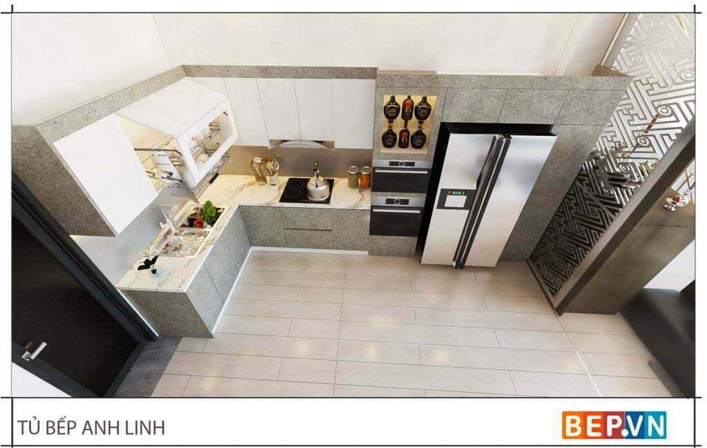 thiết kế tủ bếp chữ L đẹp hiện đại gia đình anh Linh 2