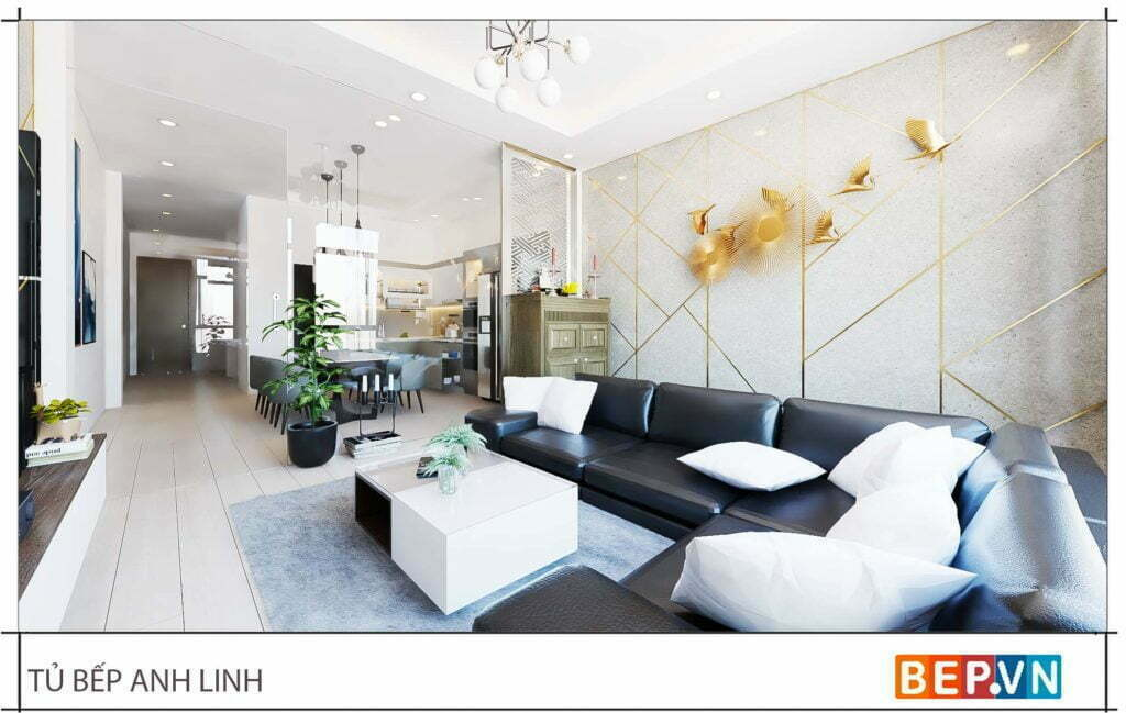 thiết kế tủ bếp chữ L đẹp hiện đại gia đình anh Linh -4