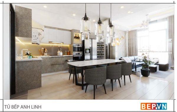 thiết kế tủ bếp chữ L đẹp hiện đại gia đình anh Linh 3
