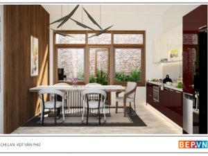 Thiết kế tủ bếp chữ i đẹp gia đình chị Lan - KĐT Văn Phú